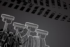 Part of engine. White outline vector illustration (engine pistons Royalty Free Stock Photo