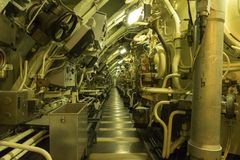 Part of the engine room of Nuclear submarine Redoutable. Maritime museum Cite de la Mer or City of the Sea in Cherbourg royalty free stock photo