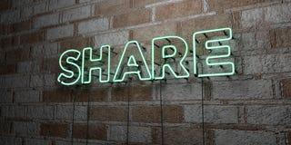 PART - Enseigne au néon rougeoyant sur le mur de maçonnerie - 3D a rendu l'illustration courante gratuite de redevance Image libre de droits