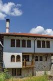 Part of exterior monastic house in restored Montenegrin or Giginski monastery. St. St. Cosmas and Damian, mountain Kitka, Breznik, Pernik region, Bulgaria Stock Photos