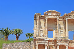 Part of facade of ancient Celsius Library in Ephesus Royalty Free Stock Photography