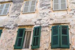 Part of a facade the ancient european house Stock Photos