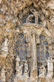 Part of the facade with a bass-relief of the Sagrada Familia cathedral of architect Antonio Gaudi. Barcelona, Spain. Stock Photography