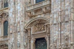 Part of facade with details of the Milan Cathedral. Part of facade with details of the famous Milan Cathedral Stock Photography