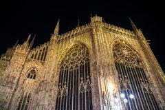 Facade of the famous Milan Cathedral at night. Part of facade of the famous Milan Cathedral at night Royalty Free Stock Image