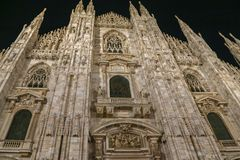 Part of facade of the Milan Cathedral at night. Part of facade of the famous Milan Cathedral at night Stock Photos
