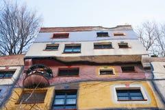 Part of the Hundertwasser House in Vienna stock photos