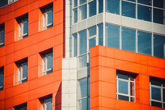 Part of the facade modern building with red and blue Stock Image