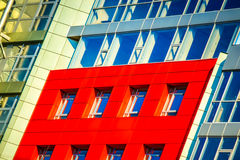 Part of the facade modern building with red and blue Royalty Free Stock Photos
