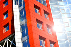 Part of the facade modern building with red and blue Stock Photos