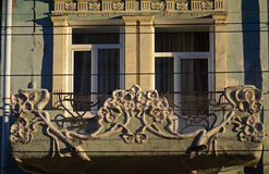 The part of facade of old residential building on pedastrian street of Samara city Stock Photo