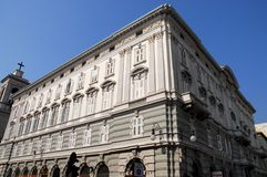 Part of the facade and the side of a building in Trieste in Friuli Venezia Giulia (Italy). Photo taken at a palace in Trieste in Friuli Venezia Giulia (Italy) Royalty Free Stock Photography