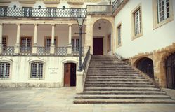 A part of the facade of the University of Coimbra. Portugal. A part of the facade of the Coimbra University - a famous and the oldest european university royalty free stock photography