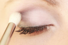 Part of face female eye makeup applying with brush Royalty Free Stock Photos