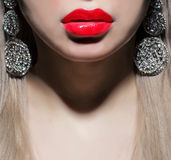 Part of face with red lips Stock Image