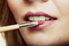 Part of face. Woman applying pink lipstick with brush Stock Images