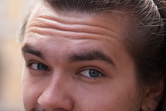 Part of face young European man with beard. Royalty Free Stock Image