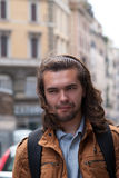 Part of face young European man with beard. Stock Photo