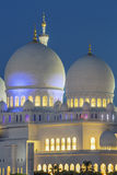 Part of famous Abu Dhabi Sheikh Zayed Mosque by night Stock Photo