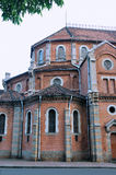 Part of famous Saigon Church, VietNam. Architecture part and detail of famous Catholic church in Ho Chi Minh City, VietNam, made in red brick, as landmark and Royalty Free Stock Photography