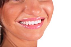 Part of female face by closeup. Royalty Free Stock Photos