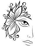 Part of female face with floral accessories Royalty Free Stock Images