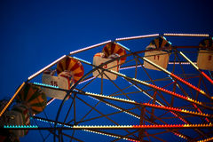 Part of the Ferris wheel at night Stock Image