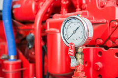 Part of fire pump in factory Stock Photos