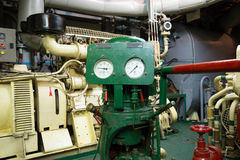 Part of fire sprinkler and drainage system in the  engine room Royalty Free Stock Photography