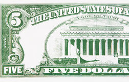 Part of a five dollar bill Royalty Free Stock Photo