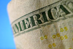 Part of Five Dollar Bill Macro Stock Image