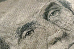 Part of Five Dollar Bill Macro Royalty Free Stock Photos