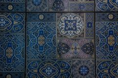Part of the floor, blue tile with ornament stock photography