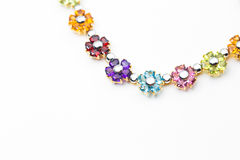 Part of flower gems gold necklace Royalty Free Stock Photography