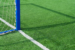 Part football field with goal. Royalty Free Stock Photos