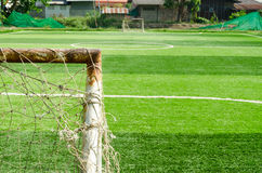 Part of football goal in soccer field the countryside. Part of football goal in soccer field in the countryside Thailand,Artificial turf football field Stock Photography