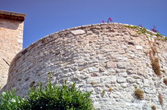 Part of fortress in antibes, france with blue sky Royalty Free Stock Photo