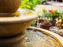 Part of the fountain. Decorated in the garden Royalty Free Stock Photo