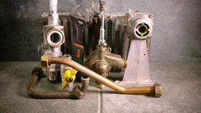 The part of gas boiler, water fittings and adjustable spanner stock footage