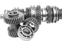 Part of gearbox on black and white. With isolated background royalty free stock photography