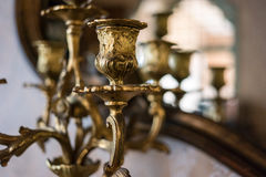 Part of gilded chandelier. Stock Photo
