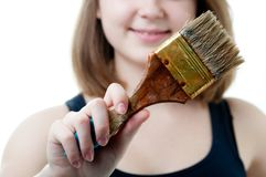 Part of girl with brush Stock Images