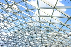 Part of glass dome in central city park. `Zaryadye royalty free stock photos