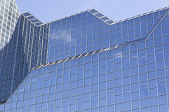 Part of glass facade of rabobank head office in dutch town of ut. Utrecht, Netherlands, 15march 2017: glass facade of rabobank head office in dutch town reflects Royalty Free Stock Images