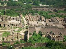 A part of GOLCONDA FORT, Hyderabad, India. A part of Golconda fort as seen from top of fort Stock Photos