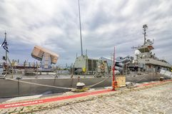 A part of Greece military navy ship in port stock photo