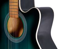 Part of the green and black acoustic guitar, isolated on a white Stock Image
