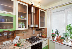 Part of Green Kitchen interior with many utensils Stock Photo