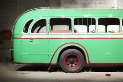 Part of green old retro bus. Back door. Stock Image