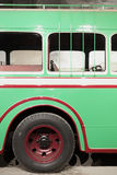 Part of green retro bus. Royalty Free Stock Images